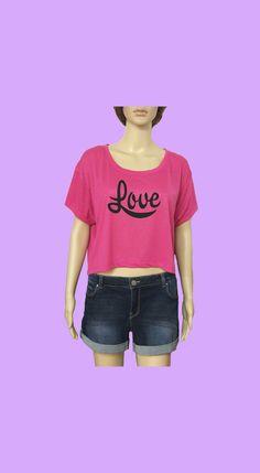 "Camiseta corta ""Love"" www.smartyfun.es #camiseta #love #pink #rosa"