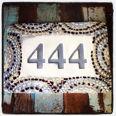 House number ceramic tile mosaic look bordered house number plaque