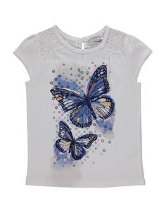 Butterfly Print T-shirt Girls Tees, Shirts For Girls, Toddler Girl Outfits, Boy Outfits, Floral Leather Jacket, T Shirt Painting, Night Dress For Women, Butterfly Print, T Shirt Diy