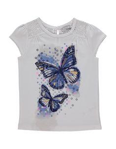 Butterfly Print T-shirt Girls Tees, Shirts For Girls, Toddler Girl Outfits, Boy Outfits, Butterfly Dress, Butterfly Print, T Shirt Painting, Night Dress For Women, T Shirt Diy
