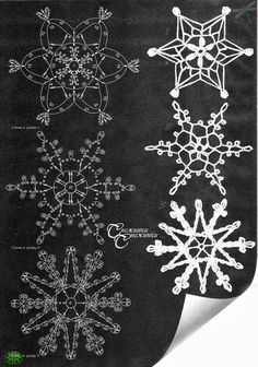 Crochet Snowflakes Patterns - diagrams only Crochet Snowflake Pattern, Crochet Snowflakes, Crochet Motif, Crochet Doilies, Crochet Flowers, Crochet Patterns, Crochet Angels, Crochet Stars, Snowflake Craft