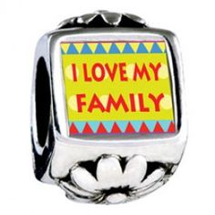 I Love My Family Photo Flower Charms  Fit pandora,trollbeads,chamilia,biagi,soufeel and any customized bracelet/necklaces. #Jewelry #Fashion #Silver# handcraft #DIY #Accessory
