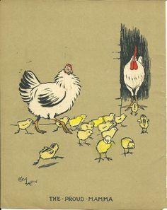 Cecil Aldin 1915 Original Antique Chickens Chicks Farmyard Print Art Rare Matted