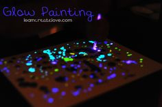Glow painting with homemade glow in the dark paint.