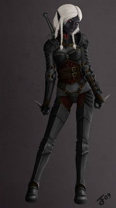 Maydia - Drow Warrior by ~I-M-M-O on deviantART