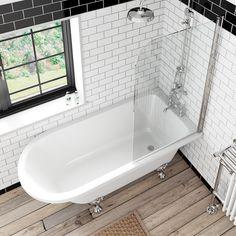 "The Bath Co. <a href=""https://victoriaplum.com/browse/dulwich-bathroom-suite-range"" class=""product-overview__title-link"" title=""Browse the Dulwich range"">Dulwich</a> freestanding shower bath and bath screen"