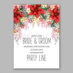 Poinsettia Wedding Invitation card beautiful winter floral ornament Christmas Party invite wreath