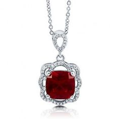 Cushion Ruby Cubic Zirconia CZ Sterling Silver Flower Pendant Necklace  from Berricle