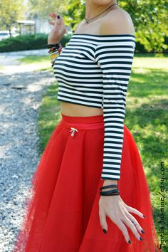 Black white top, Striped top, Women crop top, Long sleeved top Wedding crop top Pin up top Top Vintage, Striped Crop Top, High Waisted Skirt, My Etsy Shop, Ballet Skirt, Crop Tops, Trending Outfits, Check, Skirts