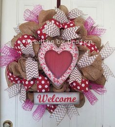 Valentine burlap wreath by WreathsbyDesign1 on Etsy, $80.00