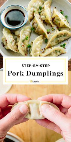How To Make Pork Dumplings - Fleisch Pork Recipes, Asian Recipes, Cooking Recipes, Healthy Recipes, Napa Cabbage Recipes, Recipies, Appetizer Recipes, Dinner Recipes, Wonton Recipes