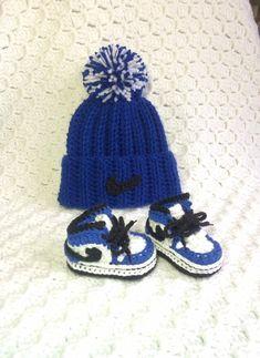 05f95cfd14ea96 Crochet Jordans- Crochet Baby Hat   Shoes - Crochet Baby Nike - Baby Nike  Set - Baby Sneakers - Crochet Booties - Baby Gift