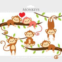 Monkey clipart  whimsical monkeys clip art cute monkeys