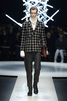 Wool bouclé jacket with shaded check, cashmere turtleneck, pants with chalk stripes and high-top sneakers #CanaliFW15 #mfw #menswear #moda #FW15