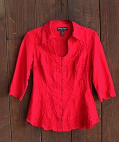 Gretty Zueger 3/4 Sleeve 100% Cotton Blouse in Red