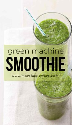 Green Machine Smoothie | Martha Stewart Living - Detox Cred: Starting the day with this nutrient-dense elixir is a delicious way to charge your system with nutrients. Dark leafy greens are extremely alkalizing, meaning they foster a more neutral body environment for better functioning enzymes, compared with acid-forming foods like meats and dairy.