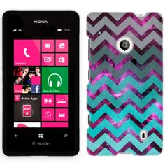 Nokia Lumia 521 Nebula Chevrons Grey Green Turquoise Phone Case Cover $8.99