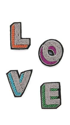 Add a little love to your outfit, or backpack, or anything you can pin to! This textured, hand-embroidered lettering spells the word 'Love' on this Macon & Lesquoy pin set.