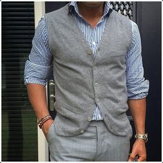 mens vertical striped shirt outfits with waistcoat