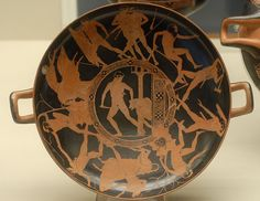 One of my favourites - the deeds of the Theseus on a red-figure kylix, attributed to the Codros Painter, 440-430. British Museum.