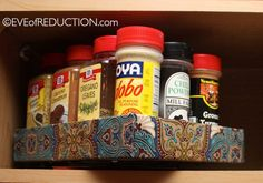 DIY spice rack made from an iPad or other low profile box. reuse. recycle. upcycle. organize. kitchen organization. tutorial. how to.
