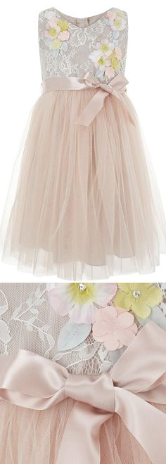 Monsoon Seren Dress Flower Girls Young Bridesmaids Dress £55.00 Layers of tulle floaty dress for girls. With a bodice of floral lace, embellished with pretty pastel flowers and sequins, finished with a party-ready sash. Spring wedding perfect dress for the little girls. Outfit ideas for spring wedding. #springwedding #summerwedding #flowergirls #bridesmaids #flowergirlsdress #weddingideas #weddinginspiration #affiliatelink