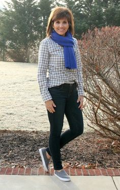Happy Hump Day! Today I'm styling a gray checkered shirt and a blue scarf