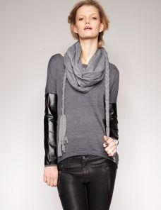 Grey jersey braided scarf