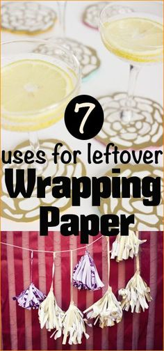 7 Wrapping Paper Projects.  Great ideas for using wrapping paper scraps or cost effective party decor.