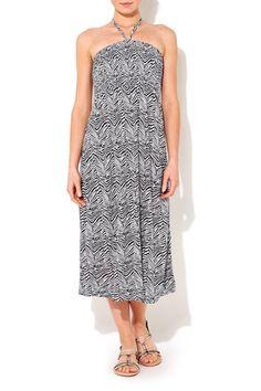 Black And White Zebra Print Jersey Dress