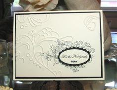 Elizabeth A La Carte stamp and the Elegant Lines embossing folder