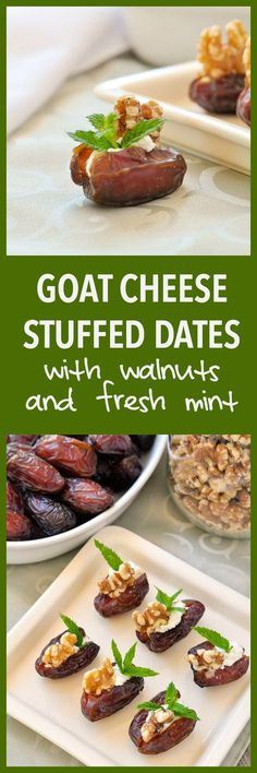 Creamy Goat Cheese Stuffed Dates with Toasted Walnuts and Fresh Mint. Quick and easy appetizer that everyone loves. Gluten-free.