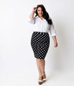 Plus Size Black White Dot High Waist Stretch Pencil Skirt