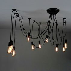"10 Light Adjustable Swag Multiple Pendant Black   70.9""/1800mm (adjustable, contact us if you need longer)"