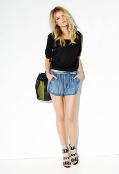 Day Date Denim - JustFab Daytime date with your other half... Why not throw on this cute look put together with Seraja wedge in black, Maddox bucket bag in black/green, Cropped sweater shirt in black, and Racer shorts. You are ready to have fun with your love in a stylish and comfy outfit!!! #justfab #fabshionista @justfabonline #ambsdr