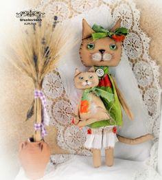 Deko-Objekte - Katzen Mama mit Kind, Landhausstil, Shabby - ein Designerstück von Svetik-Z bei DaWanda