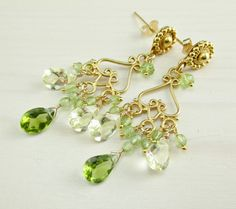 Peridot Chandelier Earrings Lemon Quartz Gold by KGeddesCreations