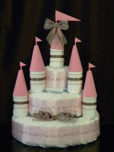Castle Diaper Cake  Boys/Girls/Neutral by Denfantcreations on Etsy, $93.00