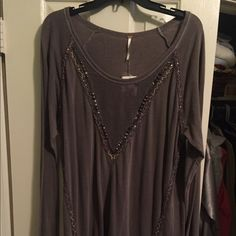 Free People Sweater Dress (Tag Still On) Free people sweater dress with beaded V. Very cute never worn tag still on! (Have the same dress currently listed in beige color) Free People Dresses Long Sleeve