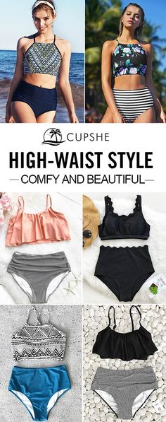 Be bold and conservative at the same time with a high-waist bikini set. Comfy and Beautiful. With their delightful colors and sweet printings, you are definitely going to love these creative bikinis! Free shipping & Great quality! Don't let go easily of every chance to meet the sparkling you!