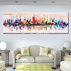 Fashion Modern living room decorative oil painting handpainted large long canvas picture Mirage city landscape ABSTRACT WALL ART