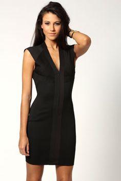 Tasha Zip Front Open Back Panelled Bodycon Dress