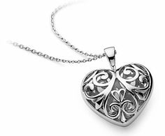 Inspiring and heartfelt, this heart pendant is beautifully crafted with an open filigree design in sterling silver with a matching cable chain for a meaningful gift. Filigree Jewelry, Sterling Silver Filigree, Heart Jewelry, Sterling Silver Pendants, Pendant Jewelry, Jewelry Necklaces, Jewelry Box, Blue Nile Jewelry, Filigree Design
