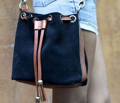 handmade leather + suede bag