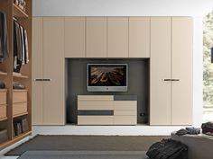 Sectional bridge wardrobe with built-in TV LISCIA Tecnopolis Collection by Presotto Industrie Mobili | design Pierangelo Sciuto
