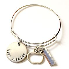Personalized teacher appreciation gifts are perfect for the end of the school year for your children's teachers! What better than a custom bangle bracelet with their teacher's name and accented by app                                                                                                                                                     More