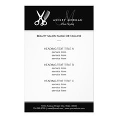 "Hair Salon Hairstylist Simple Black White Monogram 5.5"" X 8.5"" Flyer"