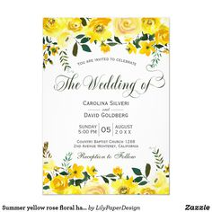 Shop Summer yellow rose floral hand lettered wedding invitation created by LilyPaperDesign. Wedding Themes, Wedding Cards, Wedding Stage, Wedding Ideas, Zazzle Invitations, Invites, Yellow Wedding Invitations, Yellow Roses, Hand Lettering