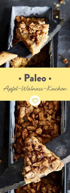 Wenn Äpfel, Walnüsse und Mandelmehl zusammen in die Backform hüpfen und sich mit Zimt berieseln lassen, ist es Zeit für Paleo-Apfelkuchen!