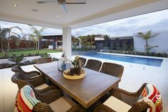 Alfresco patio backyard design with swimming pool. The Meridian double storey display home by #VenturaHomes